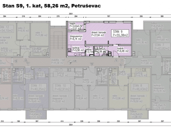 S9, Petruševec, 58,26 m2